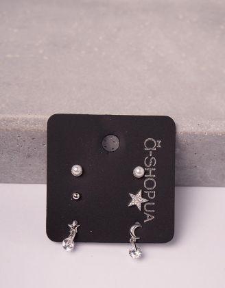 Сережки пусети у наборі у вигляді зірки та напівмісяця | 246130-06-XX - A-SHOP