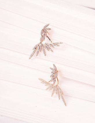 Сережки подвійні інкрустовані стразами | 240645-08-XX - A-SHOP