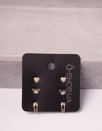 Сережки пусети у наборі у вигляді ведмедика булавки та серця | 246126-08-XX - A-SHOP
