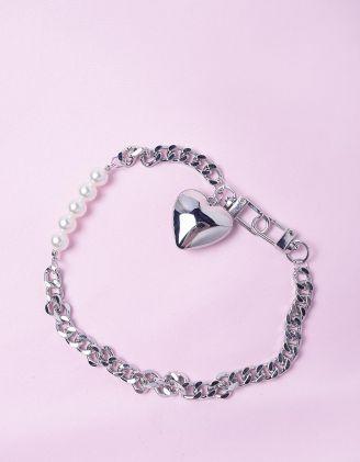 Підвіска на шию із ланцюжка та перлин з кулоном у вигляді серця | 249225-06-XX - A-SHOP
