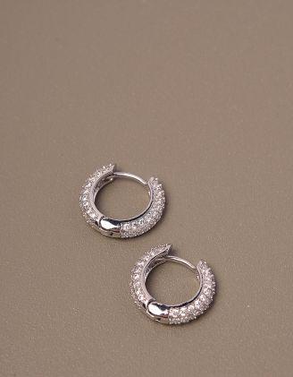 Сережки кільця маленькі з камінцями   246531-06-XX - A-SHOP