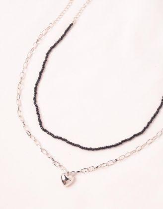 Підвіска на шию подвійна із ланцюжка та бісеру з кулоном у вигляді серця | 248715-07-XX - A-SHOP