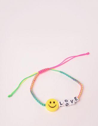 Браслет на руку плетений з написом LOVE та смайликом | 247997-21-XX - A-SHOP