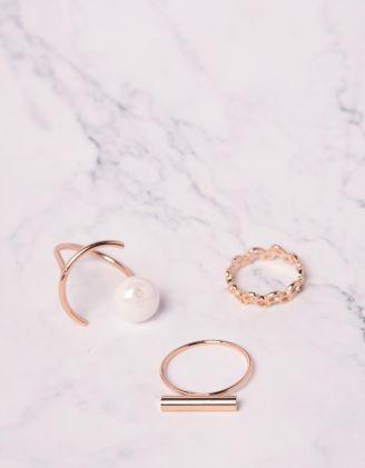 Кільця у наборі з перлиною | 239823-08-XX - A-SHOP