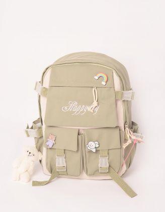 Рюкзак для міста зі значками та брелоком у вигляді ведмедика | 246600-37-XX - A-SHOP