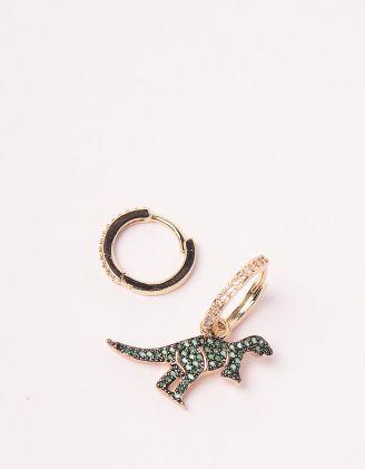 Сережки з динозавром інкрустоваі камінцями | 243898-57-XX - A-SHOP