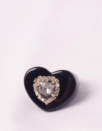 Кільце широке з камінням у вигляді серця | 248701-02-37 - A-SHOP