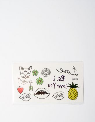 Татуировка временная с кошкой и ананасом | 224875-21-XX - A-SHOP