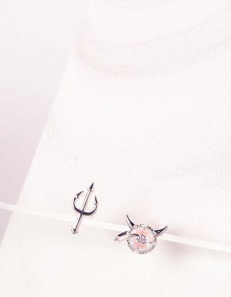 Сережки пусети у вигляді чортеняти та вил | 244618-06-XX - A-SHOP