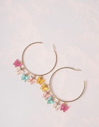 Сережки кільця з кольоровими метеликами   246182-04-XX - A-SHOP