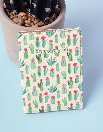Обкладинка на паспорт з малюнком кактусів | 220959-21-XX - A-SHOP