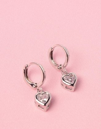 Сережки з кулонами у вигляді сердець зі стразами | 250361-06-XX - A-SHOP