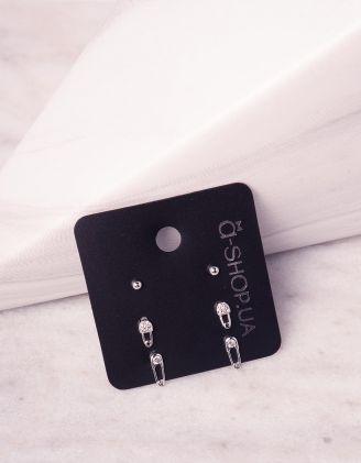 Сережки пусети у вигляді булавки | 242949-06-XX - A-SHOP