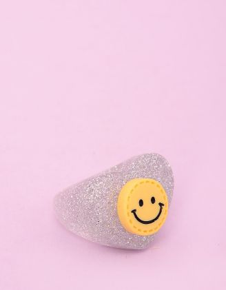 Кільце пластикове у формі серця зі смайликом та блискітками | 251128-19-38 - A-SHOP