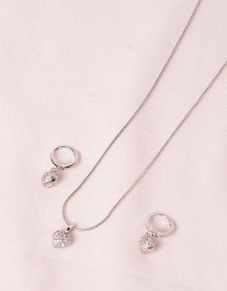 Комплект із сережок та підвіски з кулонами у вигляді сердець | 245358-06-XX - A-SHOP