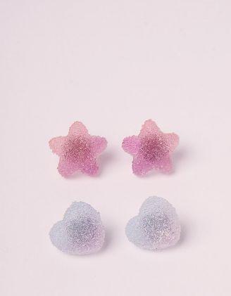 Сережки пусети у наборі у вигляді зірок та сердець | 246211-03-XX - A-SHOP
