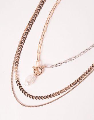 Підвіска на шию багатошарова  із ланцюжків з перлиною | 247353-08-XX - A-SHOP