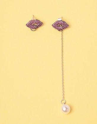 Сережки у вигляді губ з перлиною на ланцюжку | 247751-70-XX - A-SHOP