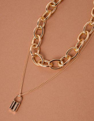 Підвіска чокер із ланцюга з кулоном у вигляді замка | 238070-04-XX - A-SHOP