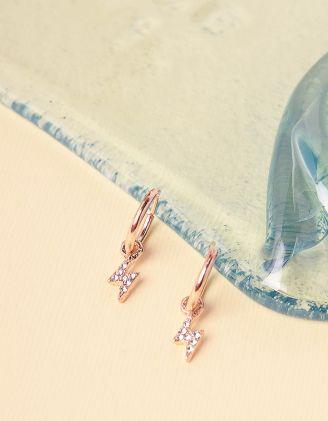 Сережки кільця з підвісками у вигляді блискавок | 240850-08-XX - A-SHOP