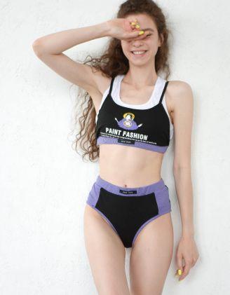 Комплект жіночої білизни з принтом та написом | 247589-02-02 - A-SHOP
