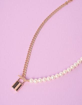 Підвіска із ланцюжка та перлин з кулоном у вигляді замка | 247519-08-XX - A-SHOP
