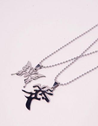 Підвіска на шию парна з кулоном у вигляді метелика та ієрогліфа | 243250-05-XX - A-SHOP