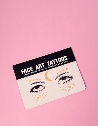 Арт тату для обличчя у вигляді зірок та місяця | 240777-04-XX - A-SHOP