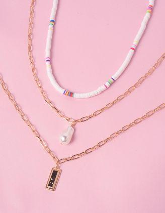 Підвіска на шию багатошарова  із ланцюжків з перлиною | 244512-08-XX - A-SHOP