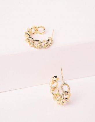 Сережки кільця маленькі у вигляді ланцюжків зі стразами | 246170-08-XX - A-SHOP