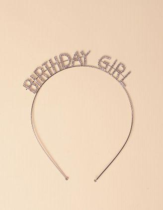 Обідок для волосся з написом BIRTHDAY GIRL  зі стразами | 246857-06-XX - A-SHOP