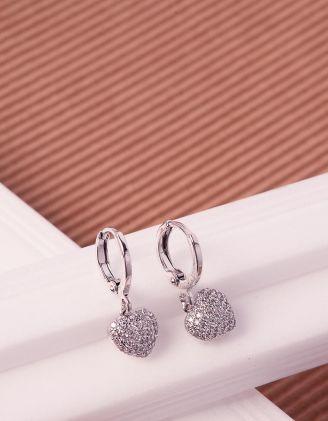 Сережки кільця з кулонами у вигляді сердець зі стразами | 241423-06-XX - A-SHOP