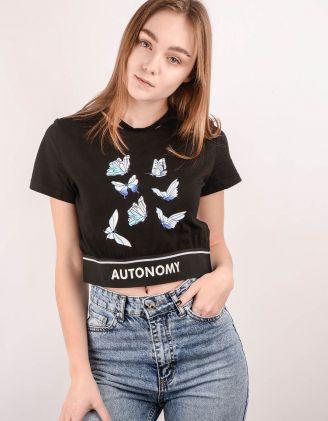 Топ футболка з принтом метеликів | 244124-02-03 - A-SHOP