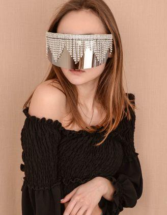 Окуляри маска дзеркальні з ланцюжками із страз | 239832-02-XX - A-SHOP