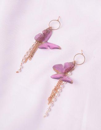 Сережки з перлинами та метеликами | 246304-03-XX - A-SHOP