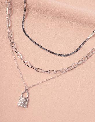 Підвіска на шию багатошарова із ланцюжків  з кулоном у вигляді замка | 244492-06-XX - A-SHOP