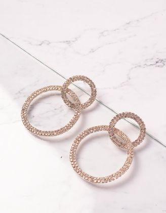 Сережки кільця декоровані  стразами | 240447-08-XX - A-SHOP