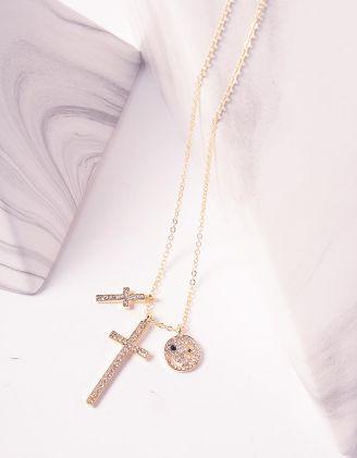 Підвіска з хрестами та смайлом у стразах | 242525-08-XX - A-SHOP