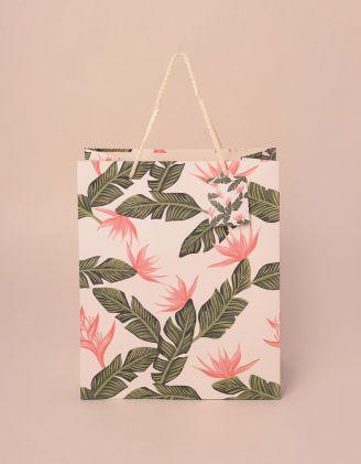 Пакет подарунковий з малюнком листя | 240816-22-XX - A-SHOP