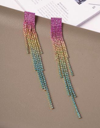 Сережки довгі з кольоровими камінцями | 240154-21-XX - A-SHOP