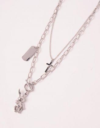 Підвіска на шию подвійна із ланцюжків з кулоном у вигляді кролика та хрестиком | 249415-05-XX - A-SHOP