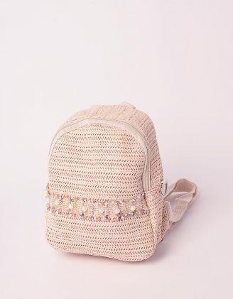 Рюкзак трансформер маленький плетений з перлинами | 239322-22-XX