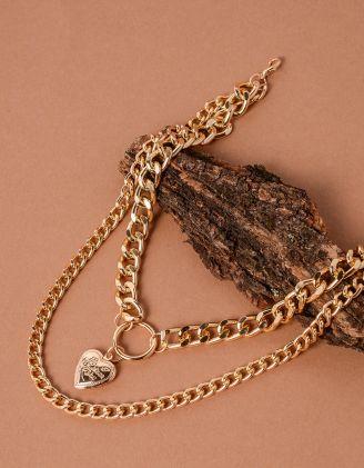 Підвіска на шию з подвійного ланцюга та з медальоном у вигляді серця | 238069-04-XX - A-SHOP