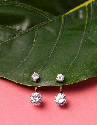 Сережки двосторонні з кристалами | 229022-06-XX - A-SHOP