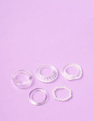 Кільця у наборі прозорі з перлинами | 249569-01-XX - A-SHOP