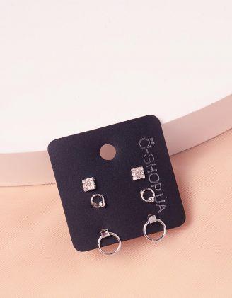 Сережки пусети у наборі з кільцями | 243828-06-XX - A-SHOP
