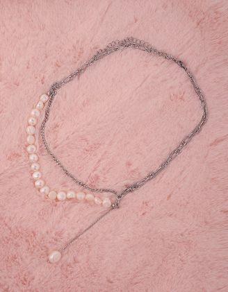Підвіска на шию із ланцюжка декорована перлинами | 249201-06-XX - A-SHOP