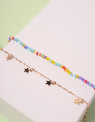 Браслет на ногу парний  із кольорових намистин з зірочками | 244527-04-XX - A-SHOP