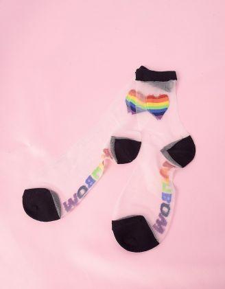 Шкарпетки прозорі із зображенням сердець у смужку | 247448-02-XX - A-SHOP