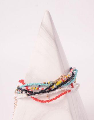 Чокер багатошаровий із кольорових намистин | 244496-21-XX - A-SHOP